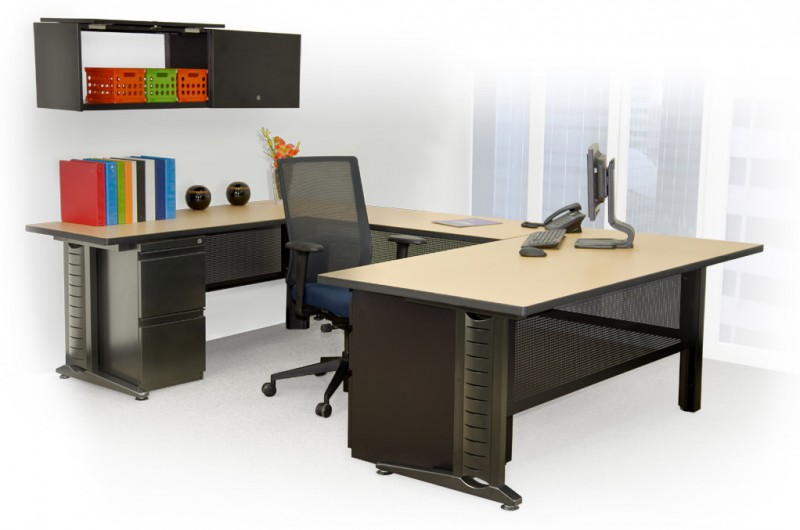 "Fusion Commercial Office ""U"" Shaped Wrap Around Desk with wall hanging shelves."