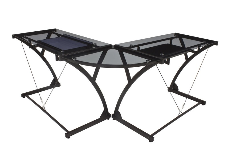 "Glass top computer ""L"" desk from Regency Seating's Soho Collection."