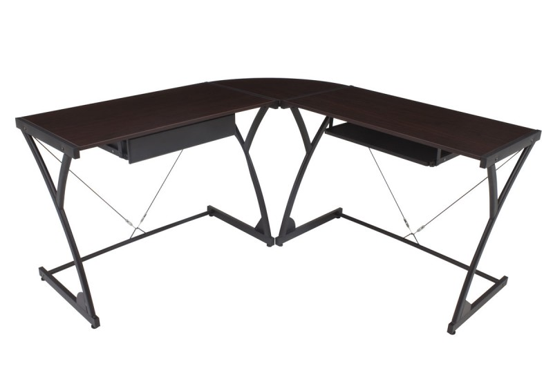 "Wood top computer ""L"" desk from Regency Seating's Soho Collection."