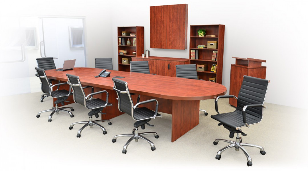 Legacy Office Conference Room Setup with a conference table, modern leather and chrome metal chairs, storage cabinets, bookshelves, standup lectern, and a presentation and display board.