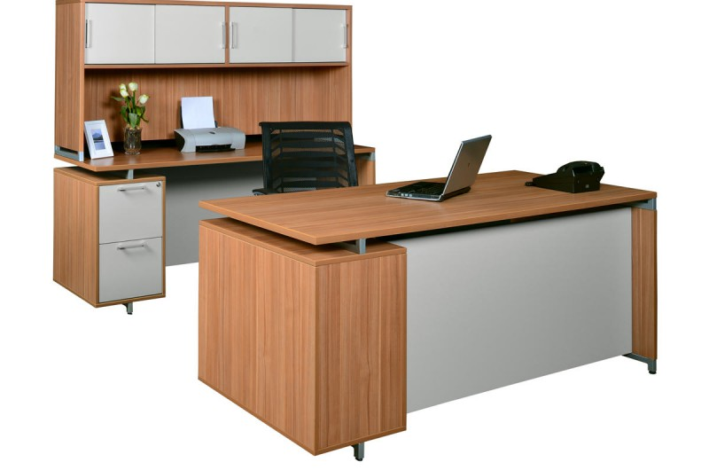 OneDesk Collection desk setup shown with hutch.