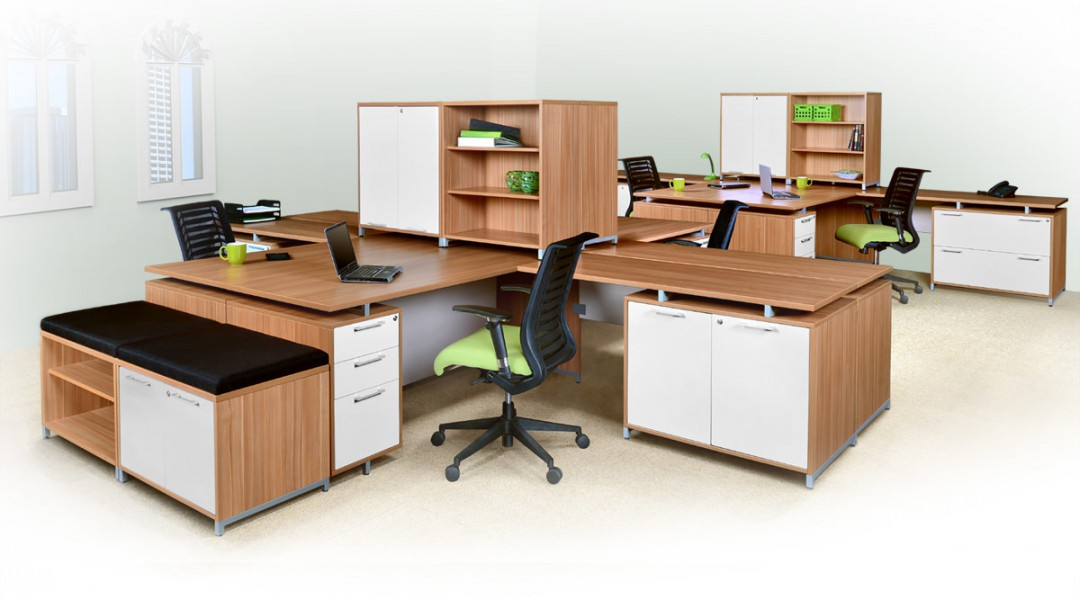 OneDesk 6 Person Commercial Office Layout with additional storage cabinets and shelves.