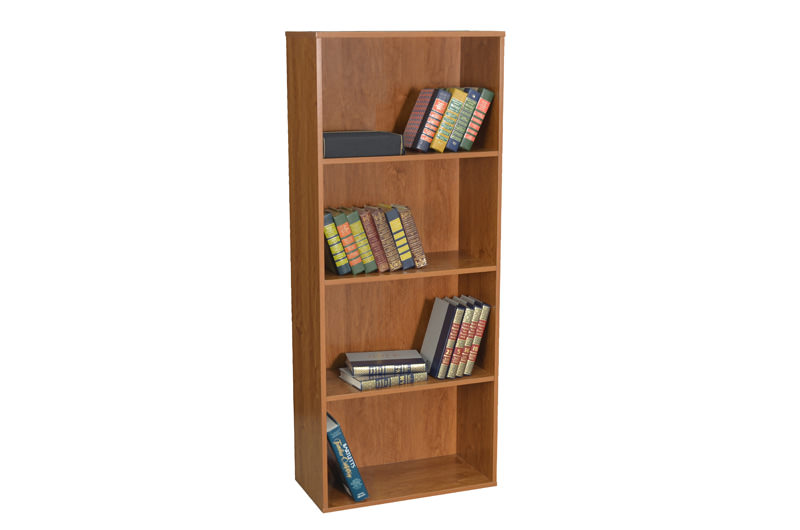 Ready To Assemble Collection Bookshelf By Regency Seating shown in  a warm cherry finish.