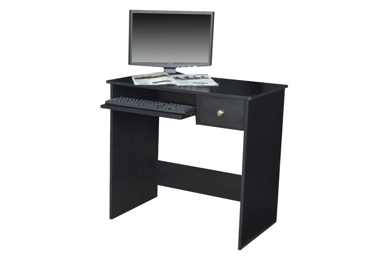 Ready To Assemble Collection Computer Desk By Regency Seating shown in an ebony finish.