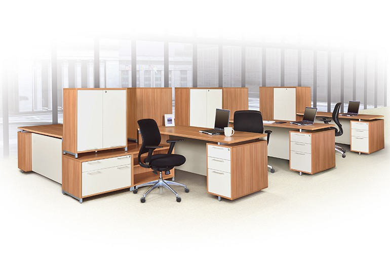 A OneDesk High/Low L Desk System In Marasca